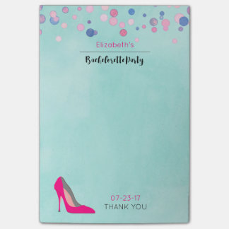 Hot Pink Stiletto Pink Confetti Bachelorette Party Post-it Notes