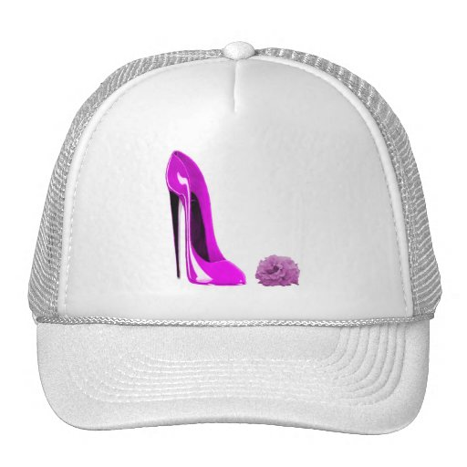 Hot Pink Stiletto Shoe and Rose Trucker Hats