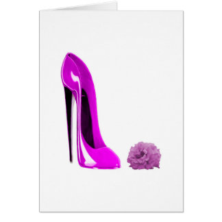 Hot Pink Stiletto Shoe and Rose Note Card