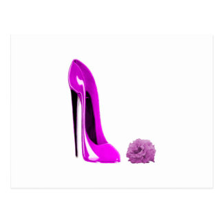 Hot Pink Stiletto Shoe and Rose Postcard