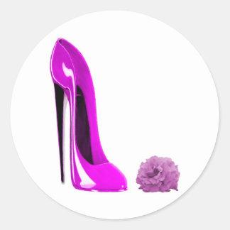 Hot Pink Stiletto Shoe and Rose Round Sticker