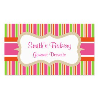 Hot Pink Striped Business Card
