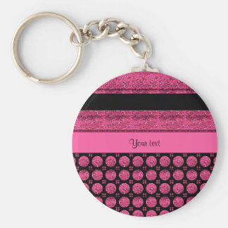 Hot Pink Stripes And Glitter Spots Basic Round Button Key Ring
