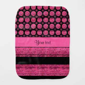 Hot Pink Stripes And Glitter Spots Burp Cloth