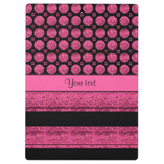 Hot Pink Stripes And Glitter Spots Clipboards