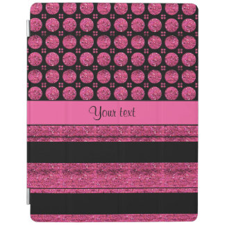 Hot Pink Stripes And Glitter Spots iPad Cover