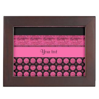 Hot Pink Stripes And Glitter Spots Keepsake Box
