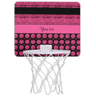 Hot Pink Stripes And Glitter Spots Mini Basketball Hoop