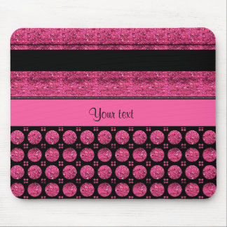Hot Pink Stripes And Glitter Spots Mouse Pad