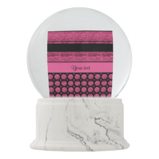 Hot Pink Stripes And Glitter Spots Snow Globe