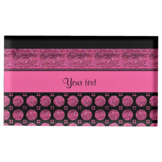 Hot Pink Stripes And Glitter Spots Table Card Holder