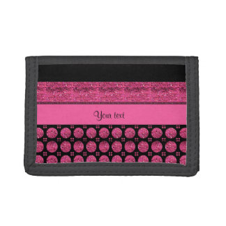 Hot Pink Stripes And Glitter Spots Trifold Wallet