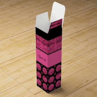 Hot Pink Stripes And Glitter Spots Wine Gift Box