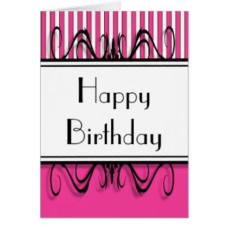 Hot Pink Stripes Happy Birthday Card
