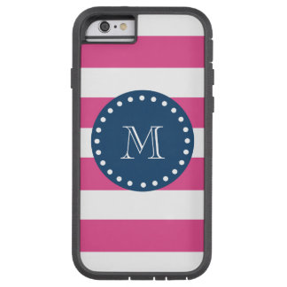 Hot Pink Stripes Pattern, Navy Blue Monogram Tough Xtreme iPhone 6 Case