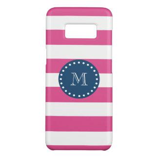 Hot Pink Stripes Pattern, Navy Blue Monogram Case-Mate Samsung Galaxy S8 Case