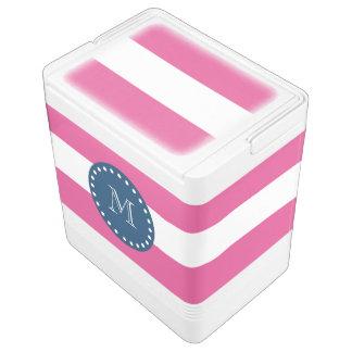 Hot Pink Stripes Pattern, Navy Blue Monogram Esky