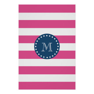 Hot Pink Stripes Pattern, Navy Blue Monogram Poster