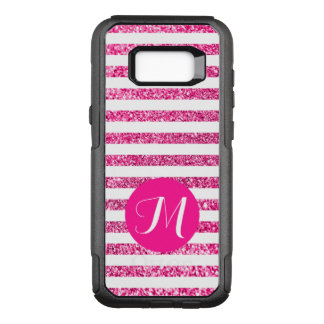 Hot Pink Stripes with Customizable Monogram OtterBox Commuter Samsung Galaxy S8+ Case