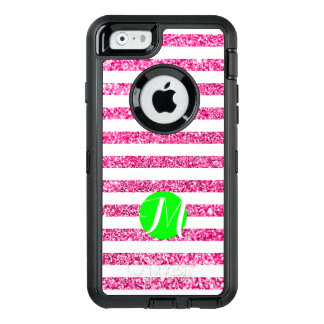 Hot Pink Stripes with Lime Monogram OtterBox Defender iPhone Case