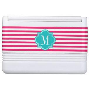 Hot Pink Stripes with Teal Monogram Cooler