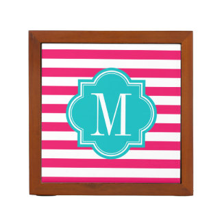 Hot Pink Stripes with Teal Monogram Desk Organiser