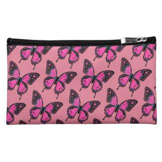 Hot Pink Suede Butterflies Makeup Bags