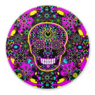 Hot Pink Sugar Skull Ceramic Knob