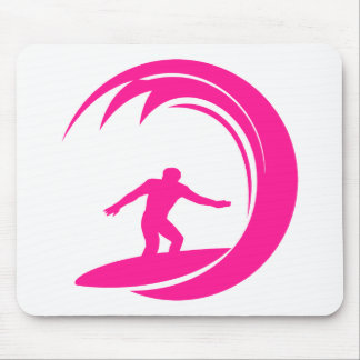 Hot Pink Surfing Mouse Pad