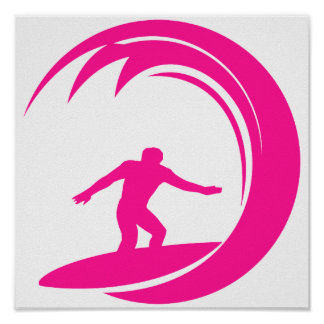 Hot Pink Surfing Posters
