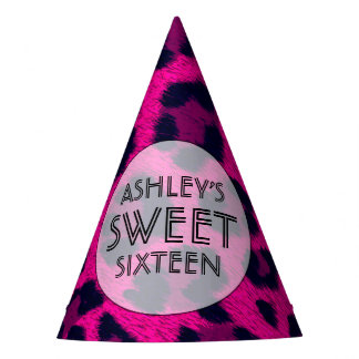 Hot Pink Sweet 16 Birthday Party Party Hat
