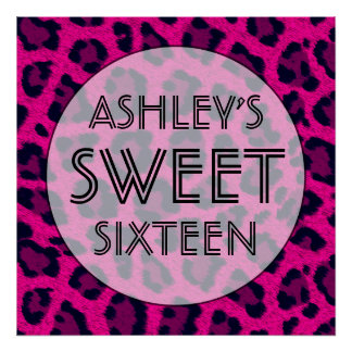 Hot Pink Sweet 16 Birthday Party Wall Decor Poster
