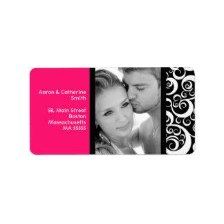 Hot Pink Swirl Photo Address Labels