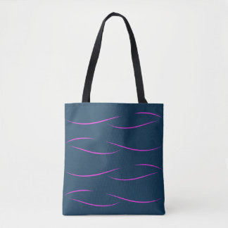 Hot Pink Swirls on Navy Blue Tote Bag