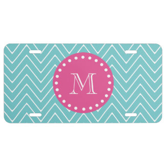 Hot Pink, Teal Blue Chevron | Your Monogram License Plate