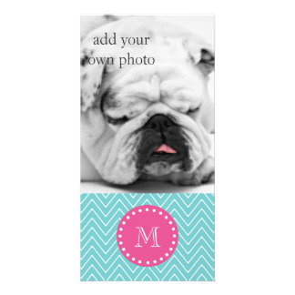 Hot Pink, Teal Blue Chevron | Your Monogram Personalized Photo Card