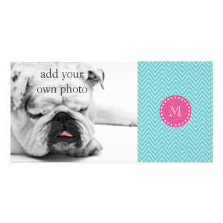 Hot Pink, Teal Blue Chevron | Your Monogram Photo Card