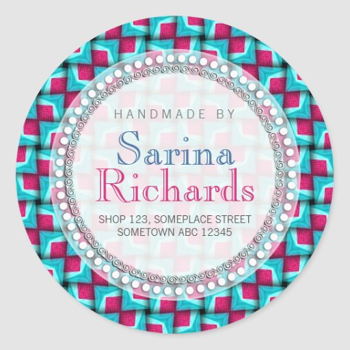 Hot Pink Teal Cool Pattern Handmade by Sticker