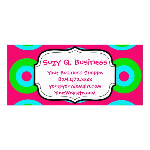 Hot Pink Teal Lime Green Circles Business Cards Personalized Rack Card