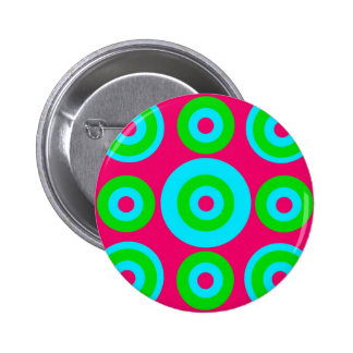 Hot Pink Teal Lime Green Concentric Circles Pinback Button
