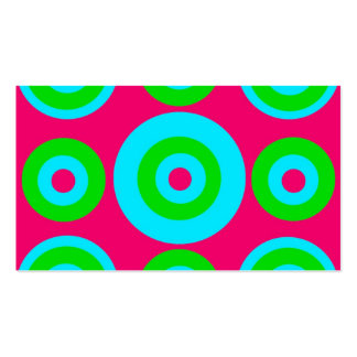 Hot Pink Teal Lime Green Concentric Circles Business Card