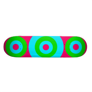 Hot Pink Teal Lime Green Concentric Circles Skate Deck