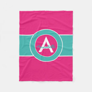Hot Pink Teal Monogram Personalized Fleece Blanket