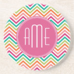 Hot Pink Teal Orange Chevrons Custom Monogram Coasters