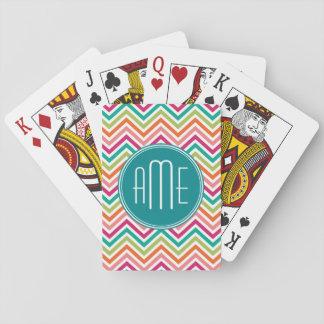 Hot Pink Teal Orange Chevrons Custom Monogram Playing Cards