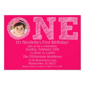 Hot Pink The Big One Photo First Birthday Party 13 Cm X 18 Cm Invitation Card