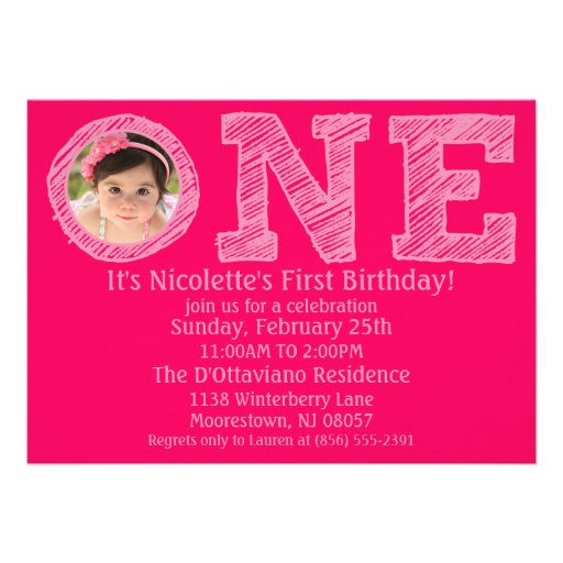 Hot Pink The Big One Photo First Birthday Party Personalized Announcement