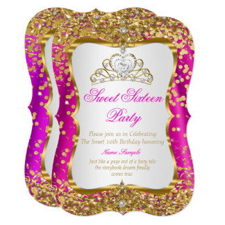 Hot Pink Tiara Princess Sweet 16 Gold White Invite