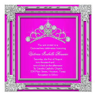 Hot Pink Tiara Sweet 15 Quinceanera Card