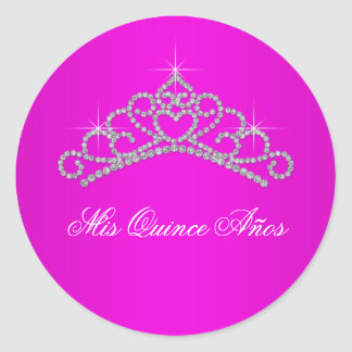 Hot Pink Tiara Sweet 15 Quinceanera Classic Round Sticker